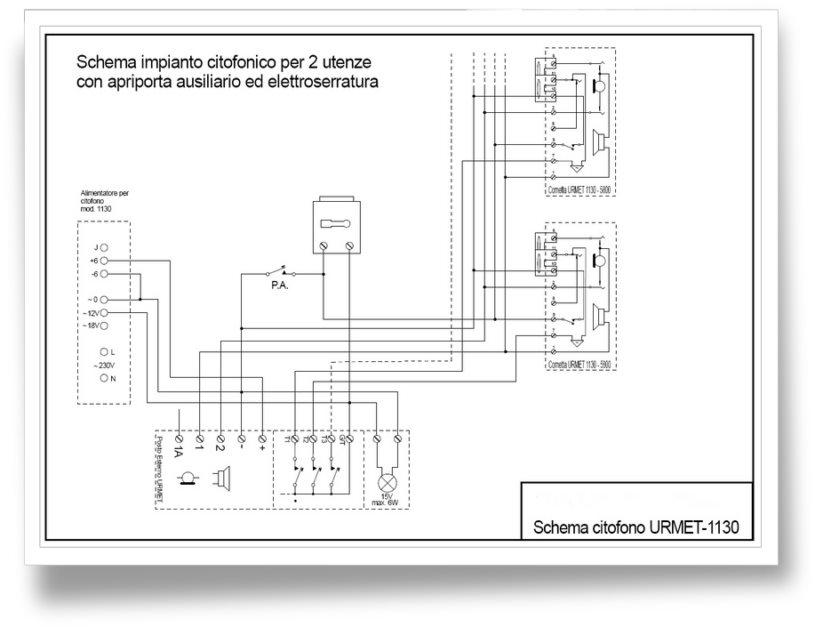 Giuseppe marchetta impianto citofono urmet mod 1130 for Urmet 1130 12 schema