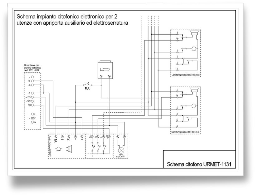 Giuseppe marchetta impianto citofono urmet mod 1131 for Urmet 1130 12 schema